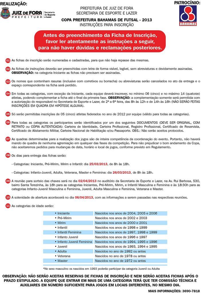 INSTRUCOES FUTSAL 2013