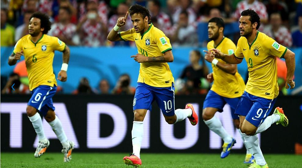 Neymar marcou os dois gols da virada brasileira