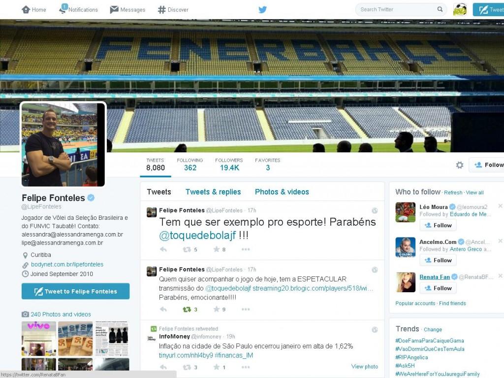 tweets Lipe Taubaté toque