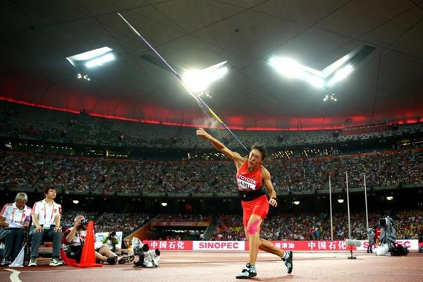 Lyu Huihui foi medalha de prata com o lançamento de dardo no Mundial de Atletismo em 2015 Foto: IAAF