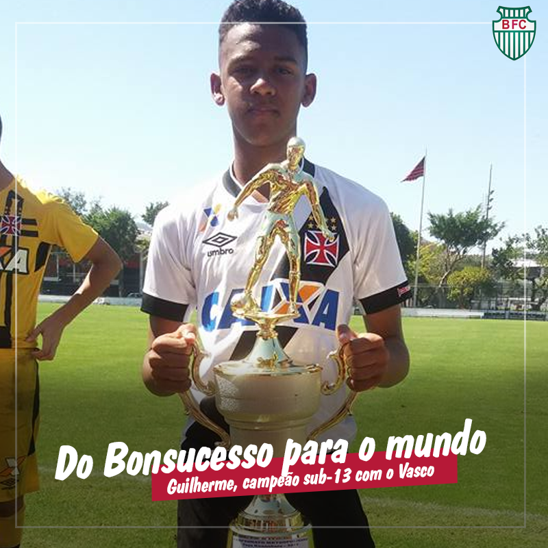 Bonsucesso presta homenagem a Guilherme pela taça conquistada com o time sub-13 do Vasco