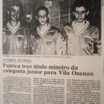 Marcos Baeta, Luiz Henrique Colla e Jovânio formaram a equipe campeã mineira júnior de Futebol de Mesa pelo Futrica